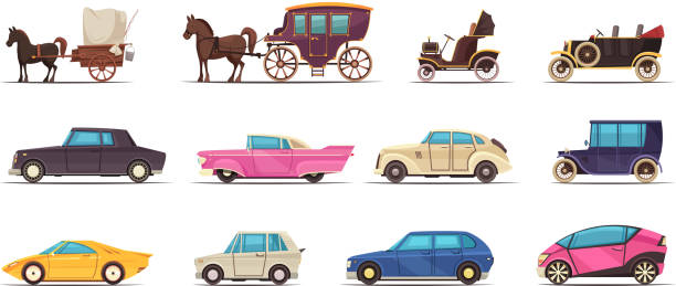 ground transportation old modern set Set of icons old and modern ground transportation including various cars and horse carriages isolated vector illustration 20th century history stock illustrations