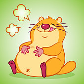 Cartoon groundhog be full with hunger satisfied.