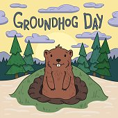 Groundhog day. Cute groundhog looking out from the burrow on picturesque pine forest and morning sky background. Line vector illustration. Colored cartoon style