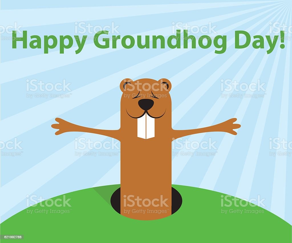 groundhog day funny cartoon character of marmot wait spring stock
