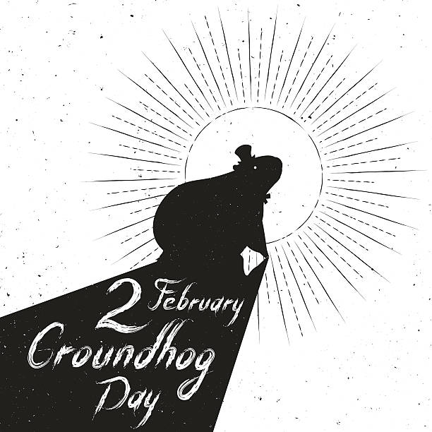 groundhog day greeting card vector art illustration