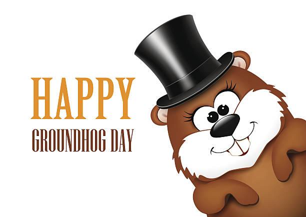 ilustraciones, imágenes clip art, dibujos animados e iconos de stock de marmota día tarjeta de felicitación con alegre marmota - groundhog day