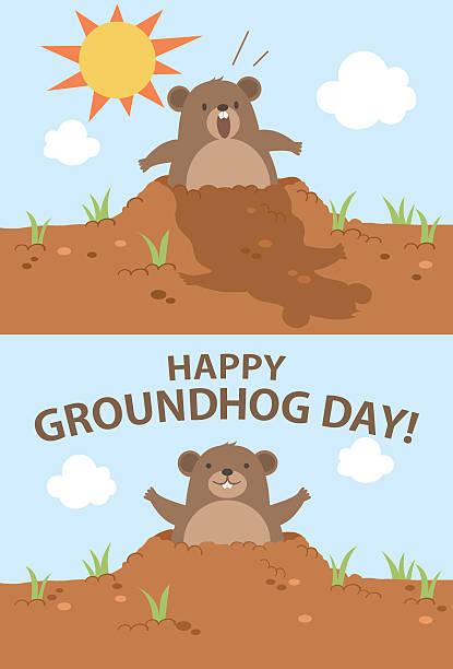 ilustraciones, imágenes clip art, dibujos animados e iconos de stock de groundhog day - illustration - groundhog day
