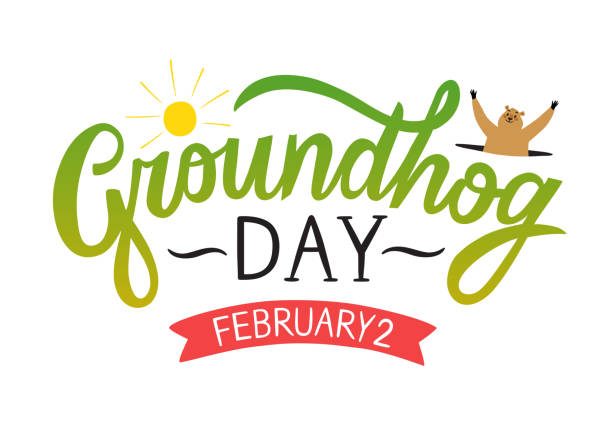 ilustraciones, imágenes clip art, dibujos animados e iconos de stock de ilustración del día de la marmota con título y marmota de dibujos animados - groundhog day
