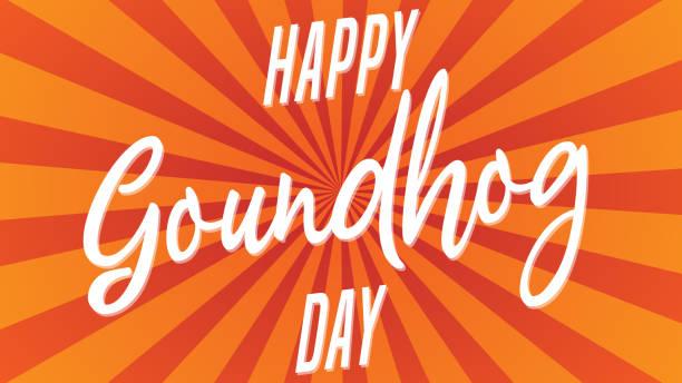ilustraciones, imágenes clip art, dibujos animados e iconos de stock de diseño para tarjetas de felicitación y cartel del día de la marmota tipografía vector. ilustración de vector. - groundhog day