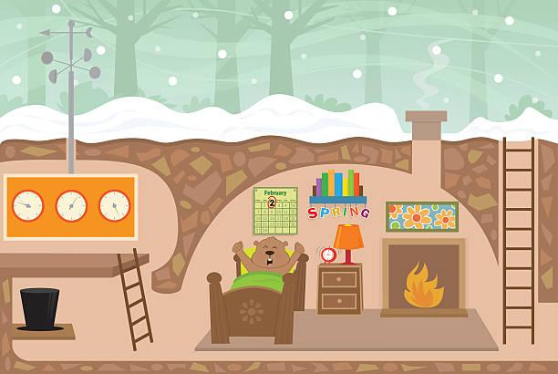 ilustraciones, imágenes clip art, dibujos animados e iconos de stock de casa de marmota - groundhog day