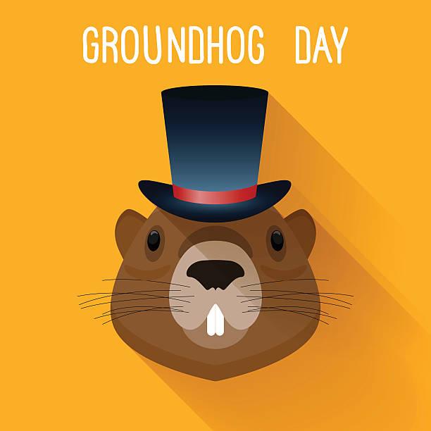 ilustraciones, imágenes clip art, dibujos animados e iconos de stock de marmota en u. graundhog plantilla de tarjeta de día de historieta divertido. - groundhog day