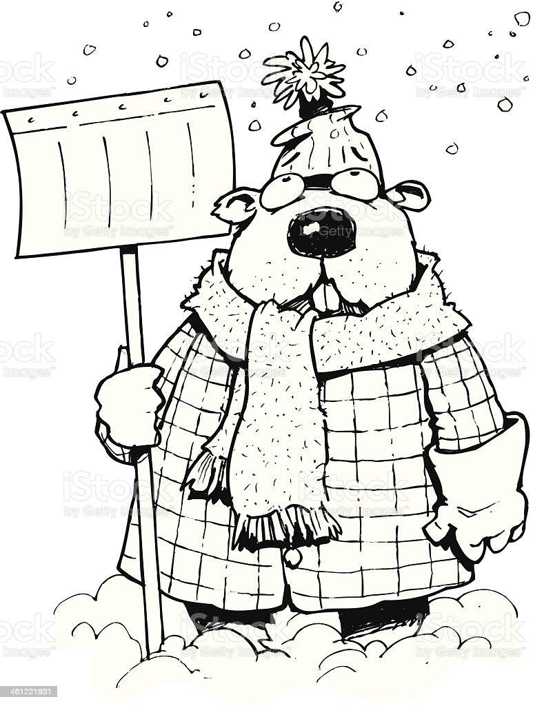 Groundhog In Snow vector art illustration