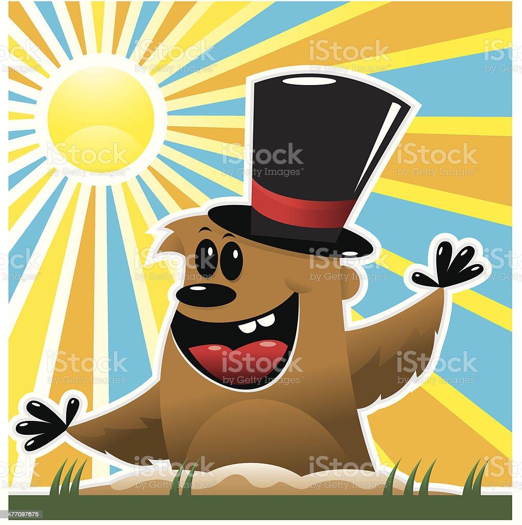 Groundhog Top Hat royalty-free stock vector art