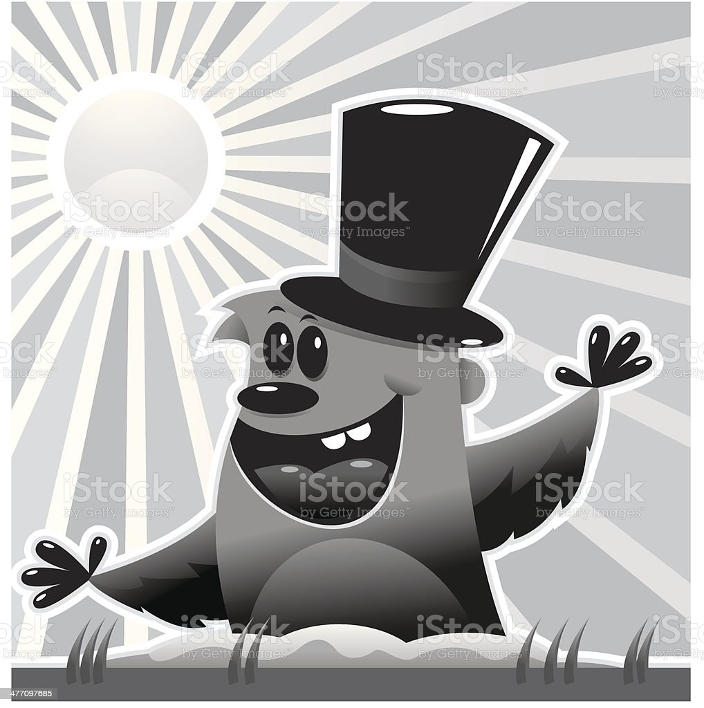 Groundhog Top Hat royalty-free stock vector art