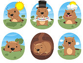 autumn celebration grounhog day vector illustration action set