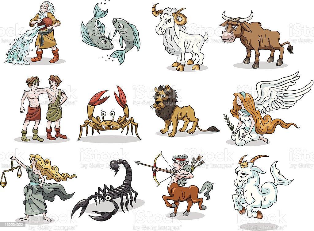 Group 12 Funny Cartoons Of Zodiac Symbols Stock Vector Art More