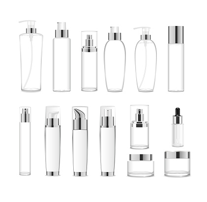 Group af transparent acrylic cosmetic packages. Vector