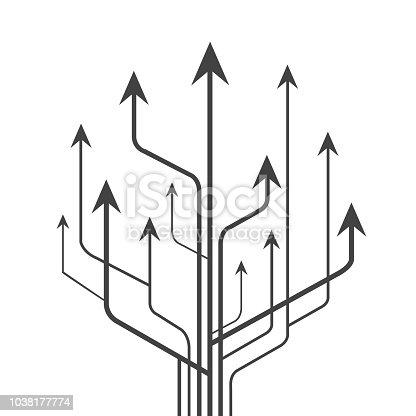 Group arrows directed upwards - stock vector