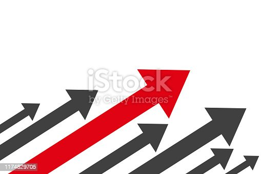Group black arrows and one red directed upwards - stock vector