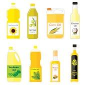 Group bottles of oil for frying