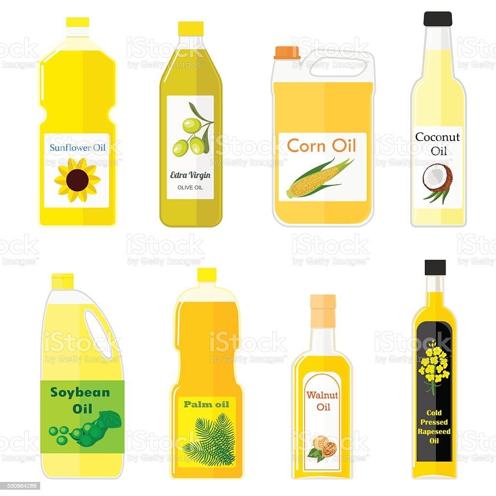 Group bottles of oil for frying vector art illustration