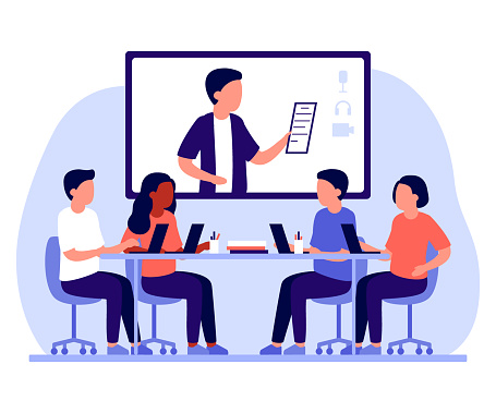 Group business employee people work together in office and online communication via internet. People sitting at common table and communicate using laptop. Workplace company. Vector flat illustration