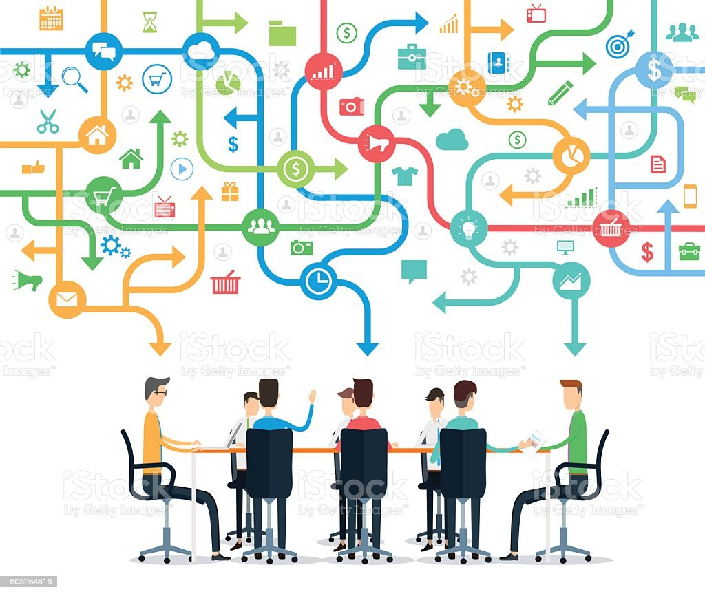 Group business team working meeting and brainstorming concept vector art illustration