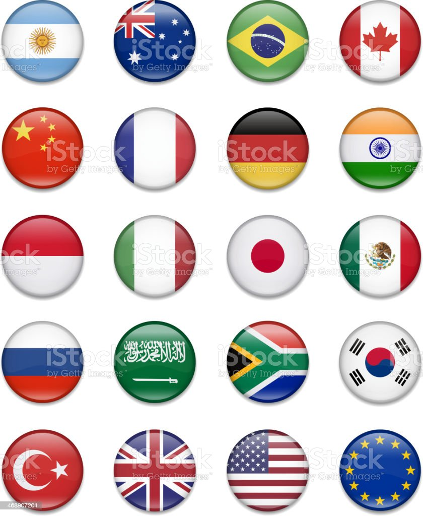 G-20 Group - Button Flag Collection vector art illustration