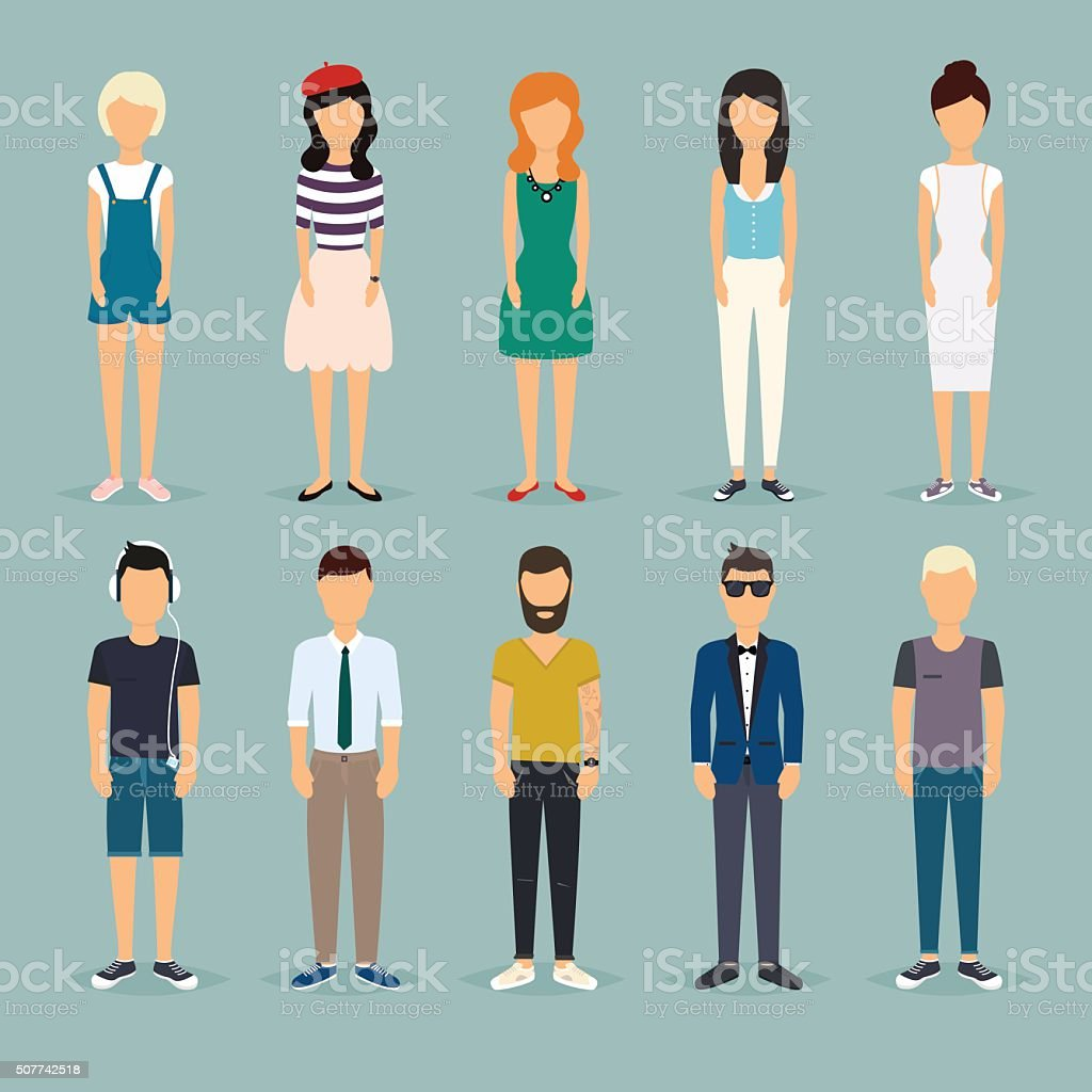 Group cartoon people. Social Network and Social Media Concept. B vector art illustration