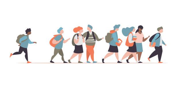 Gruppe Zeichen Grundschule Schüler gehen zur Schule – Vektorgrafik