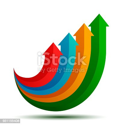 Group colored arrows directed upwards - stock vector