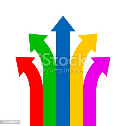 Group colored arrows directed upwards - vector