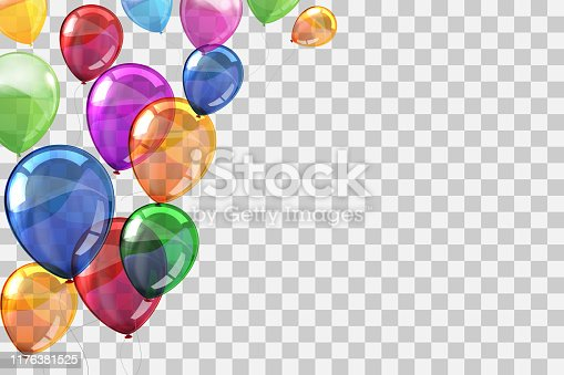 istock Group colored helium fly balloons on transparent background - stock vector 1176381525