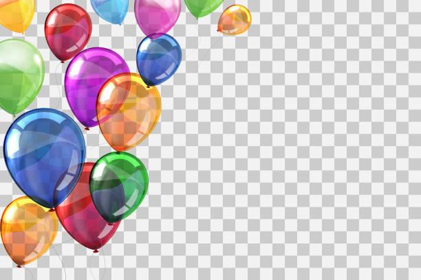 ilustraciones, imágenes clip art, dibujos animados e iconos de stock de globos voladores de helio de color de grupo sobre fondo transparente - vector de stock - cumpleaños