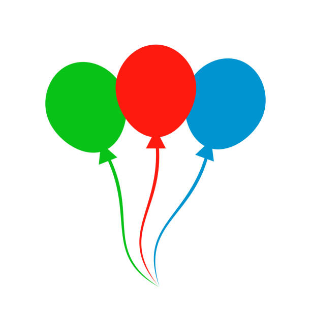 Group colored helium fly balloons - vector vector art illustration