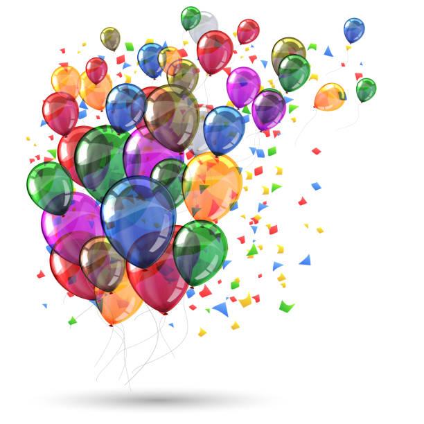 stockillustraties, clipart, cartoons en iconen met groep gekleurde helium vliegen ballonnen met confetti-stock vector - birthday gift voucher