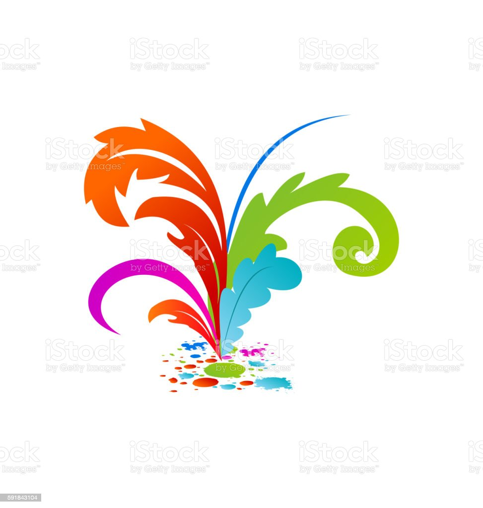 Group colouful artistic feathers with ink vector art illustration
