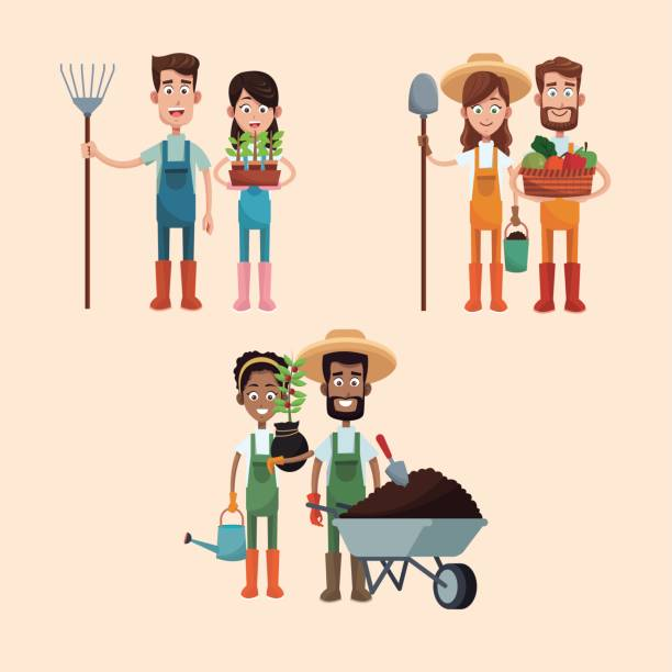group couple farmers image group couple farmers image vector illustration eps 10 farmer stock illustrations