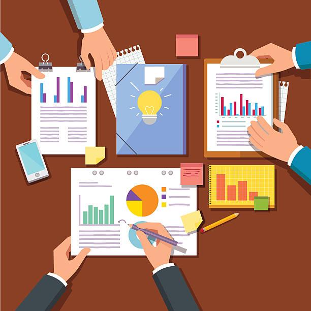 illustrazioni stock, clip art, cartoni animati e icone di tendenza di group discussing new startup business plan - business meeting, table view from above