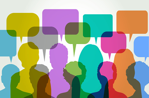 Colourful overlapping silhouettes of people during social network, speech balloons, Text Messaging, teamwork, Blogging, Business, Communication,