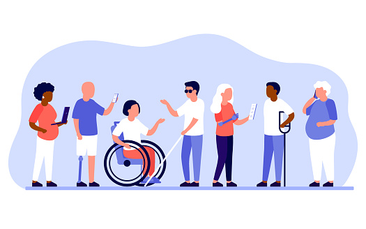 Group diverse of people with disabilities work together in office. Disabled different people stand in raw and communicate with mobile phone, laptop. Handicapped persons work. Vector illustration