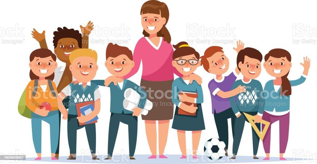 Gruppe-Grundschule-jungen und Mädchen Schüler und Lehrer – Vektorgrafik