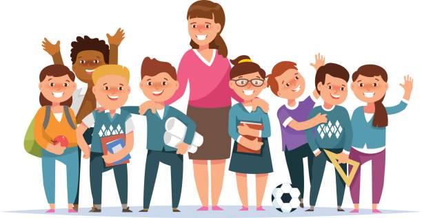 illustrazioni stock, clip art, cartoni animati e icone di tendenza di group elementary school boy and girl pupil and teacher - compagni scuola