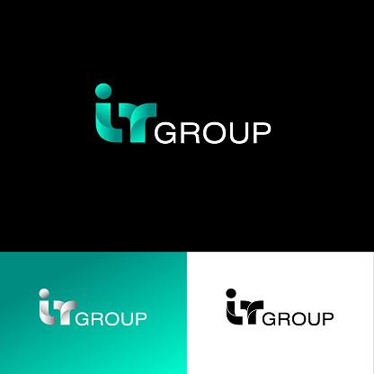 IT group emblem. Internet technology. Monochrome option.