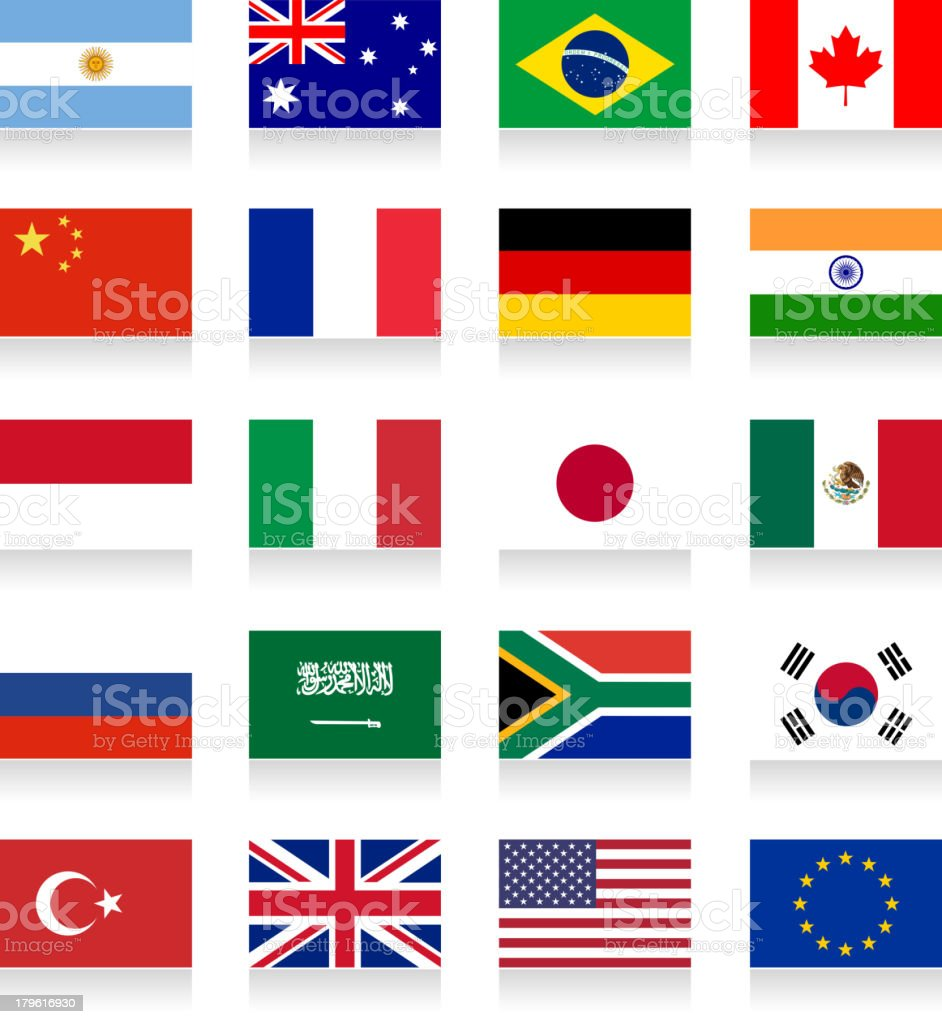 G-20 Group. Flag Collection vector art illustration