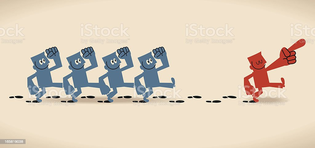 Group following the footprints of leader vector art illustration