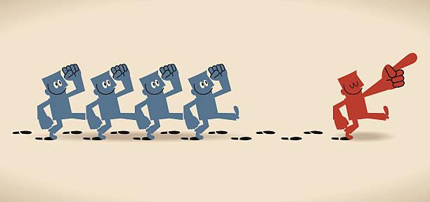 gruppe folgen sie den fußspuren leader - smileys zum kopieren stock-grafiken, -clipart, -cartoons und -symbole