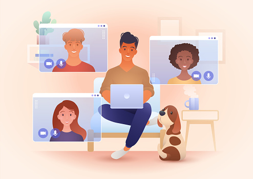 A group for young smile people video call in their own living rooms. Online friends meeting, Work from Home, Remote work, teleconference, New normal. Conceptual vector illustration.