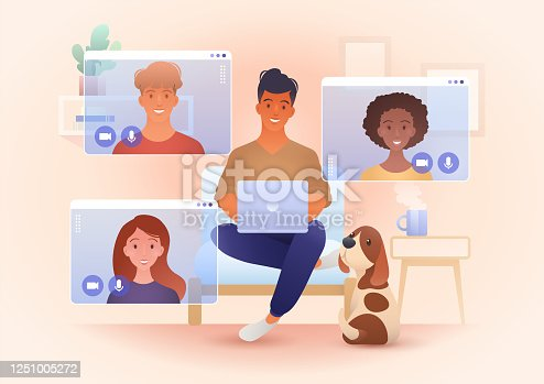 istock A group for young smile people video call in their own living rooms. Online friends meeting, Work from Home, Remote work, teleconference, New normal. Conceptual vector illustration. 1251005272