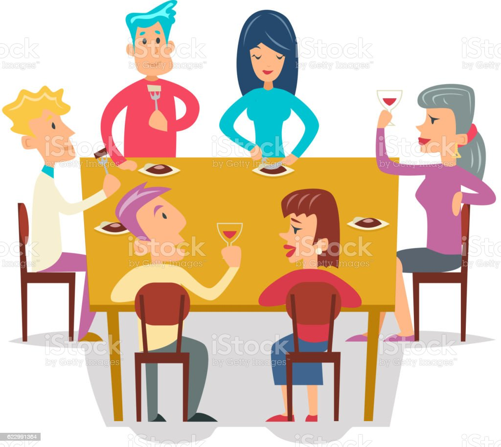 Group Friends Eat Meal Characters Celebration Meating Party Cartoon