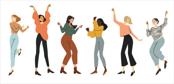 stockillustraties, clipart, cartoons en iconen met groep happy dancing people geïsoleerd op witte achtergrond. dansfeest illustratie - vrouwenkwesties