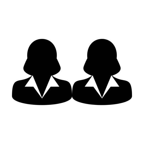 gruppe symbol vektor geschäftsleute team management personen avatar in flache farbe glyphe piktogramm - chefin stock-grafiken, -clipart, -cartoons und -symbole