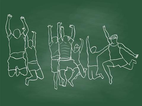 Group Jump Of Joy Flat Sketch Chalkboard