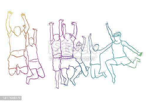 Group Jump Of Joy Flat Sketch Rainbow
